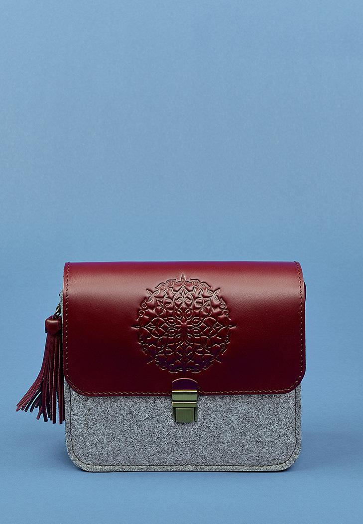 be435c0aac84 Бохо-сумка Лилу Серый фетр + бордовая кожа виноград (BN-BAG-3-felt ...