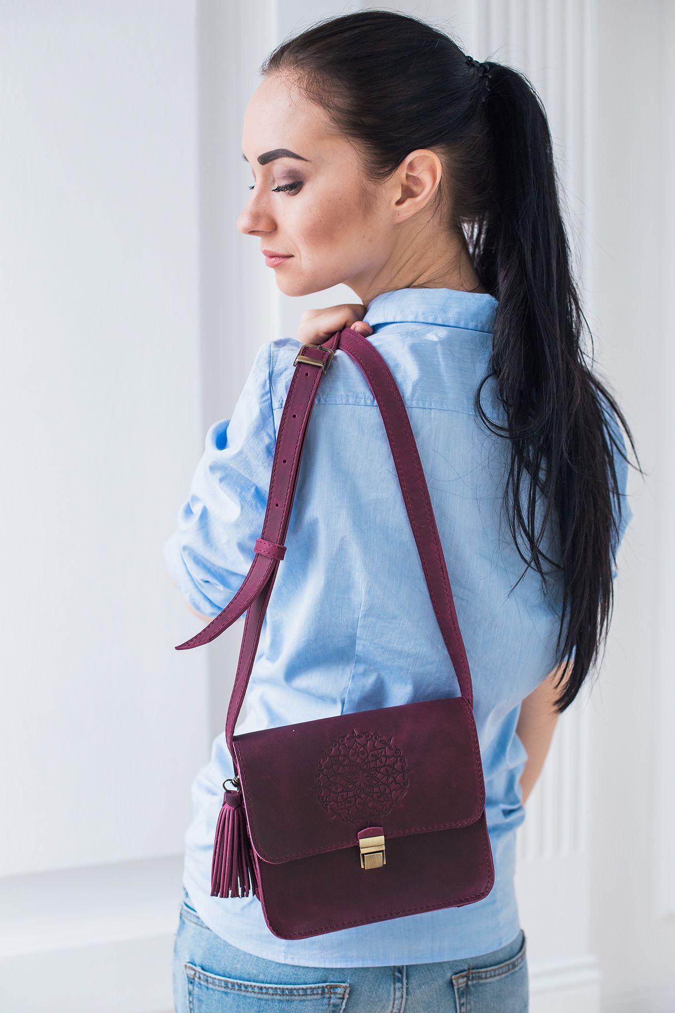Кожаная сумка бохо Лилу Виноград Фото 2