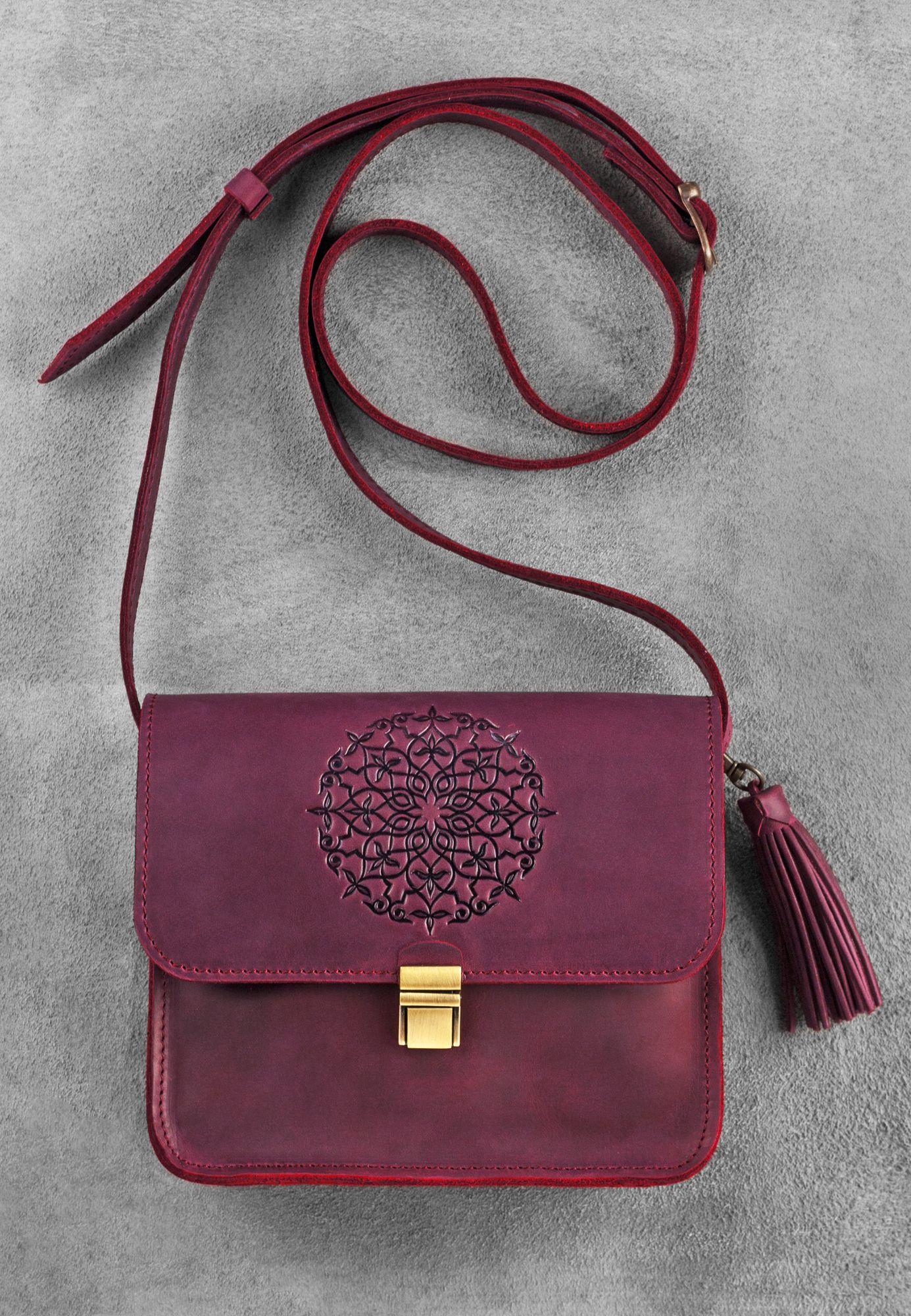 Кожаная сумка бохо Лилу Виноград Фото 8