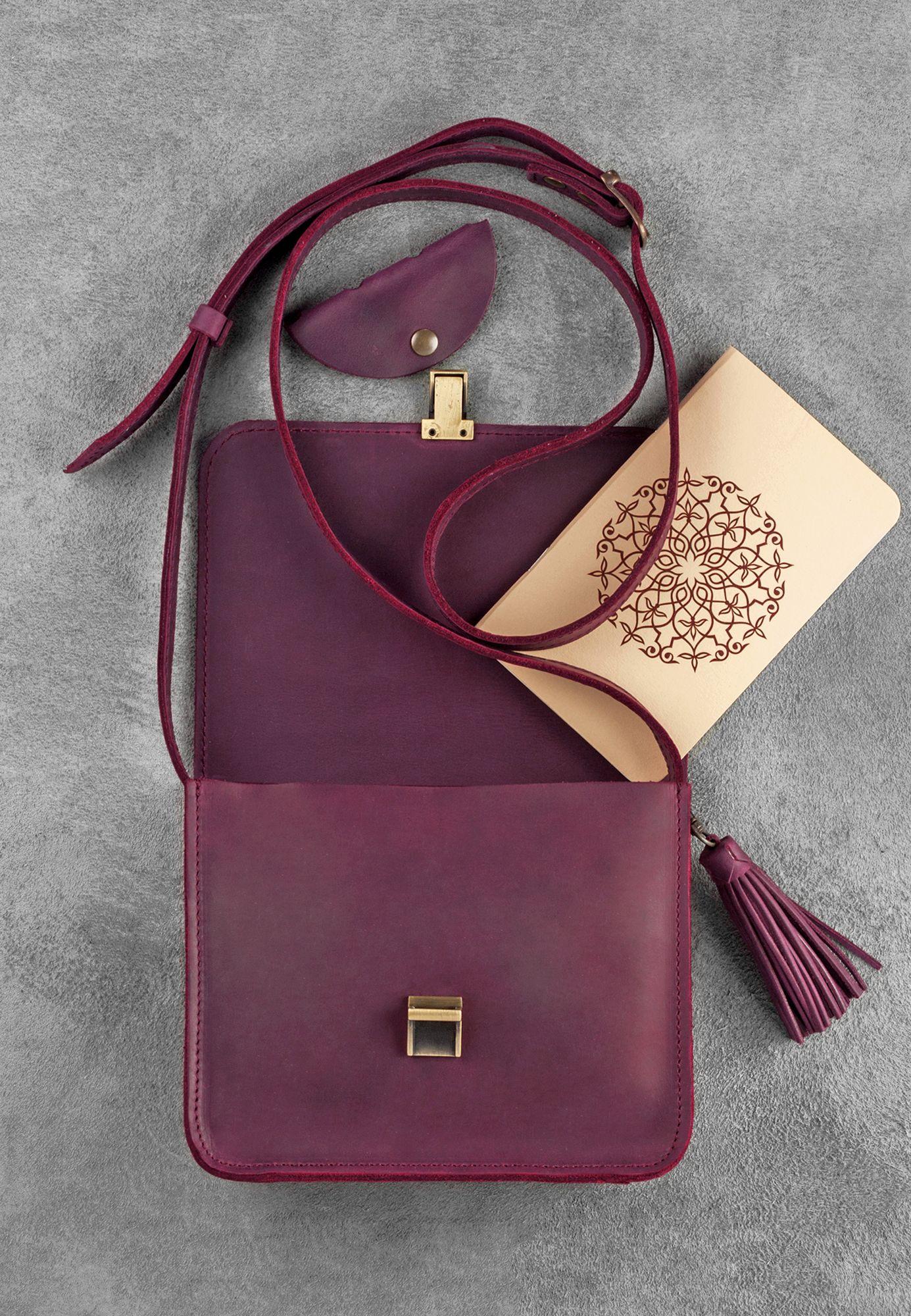 Кожаная сумка бохо Лилу Виноград Фото 3