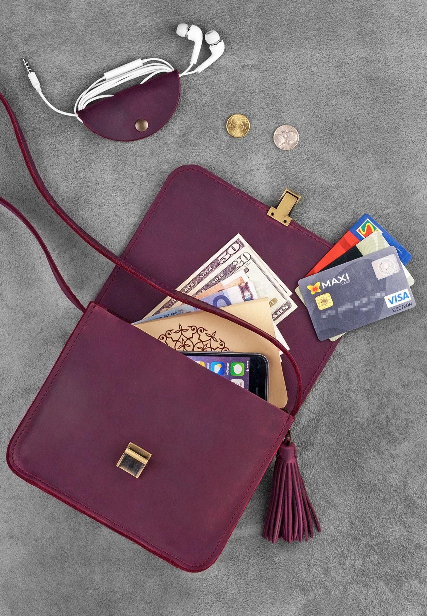Кожаная сумка бохо Лилу Виноград Фото 4