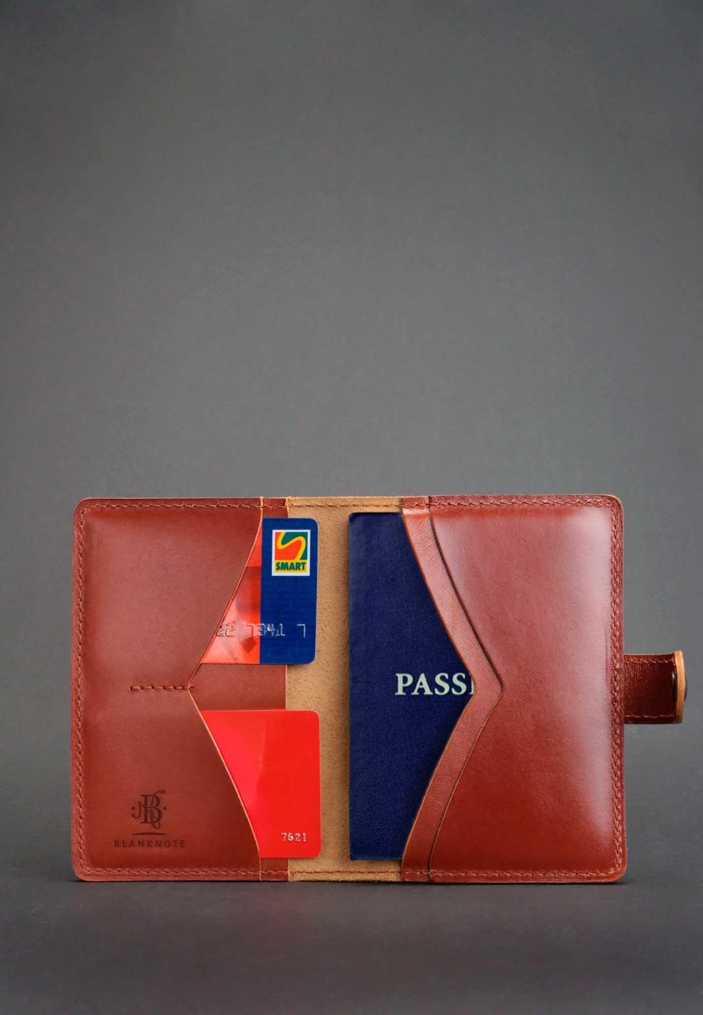 Обложка для паспорта 3.0 коньяк (кожа) Фото 4
