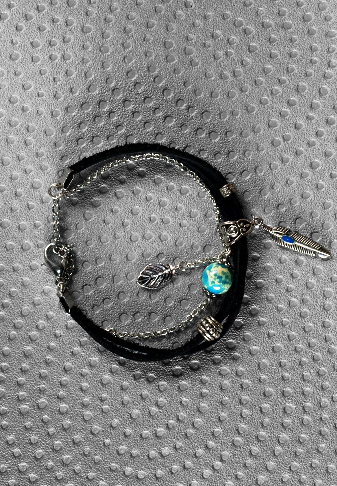 кожаный браслет женский